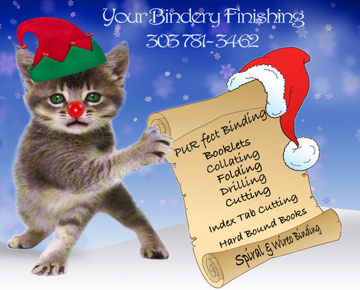 December Kitty with Elf hat, red nose, and Santa List with Bindery services.
